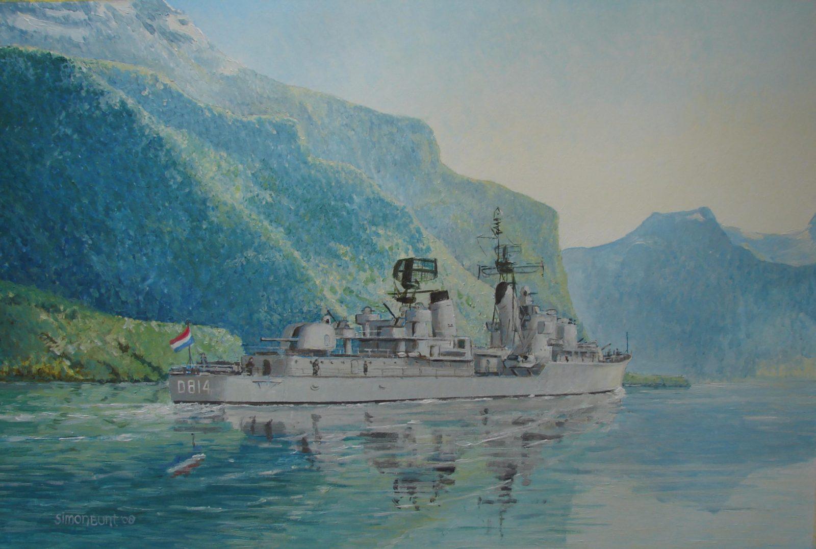 HMNLMS Limburg in Hardangerfjord,acrylic on paper, 65x42