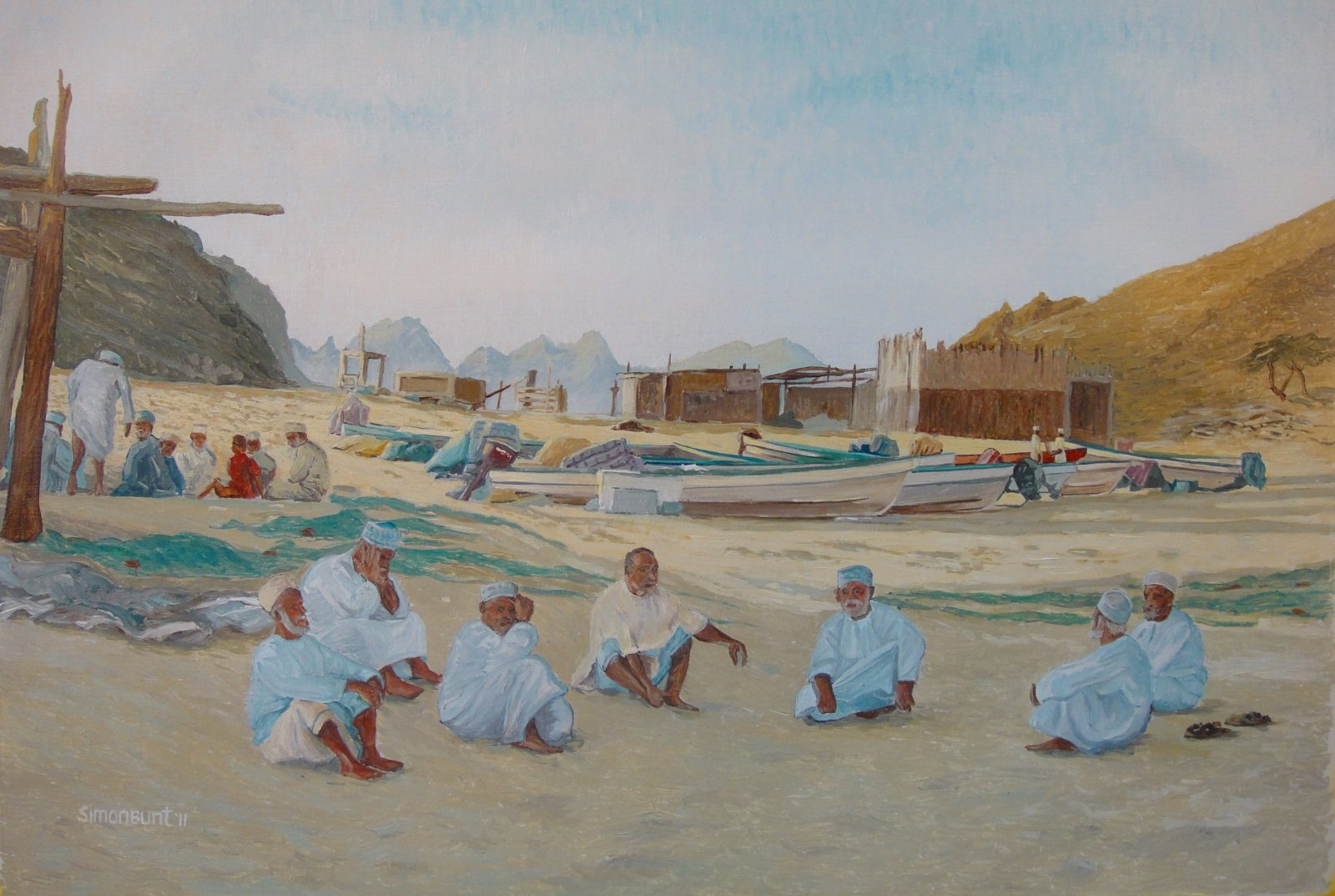 Qantab Fishermen(2) 80x55 acrylic on linnen
